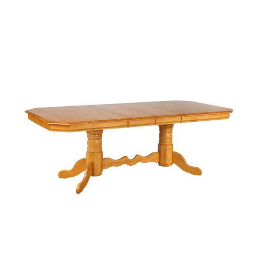 Double Pedestal Trestle Dining Table w/Butterfly Top - Light Oak Finish