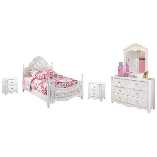 Full Poster Bed With Mirrored Dresser and 2 Nightstands