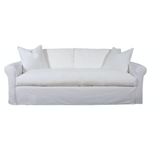 Capris Furniture - Roll Arm, Luxury Depth, Bench Seat, King Slipcover Sofa.