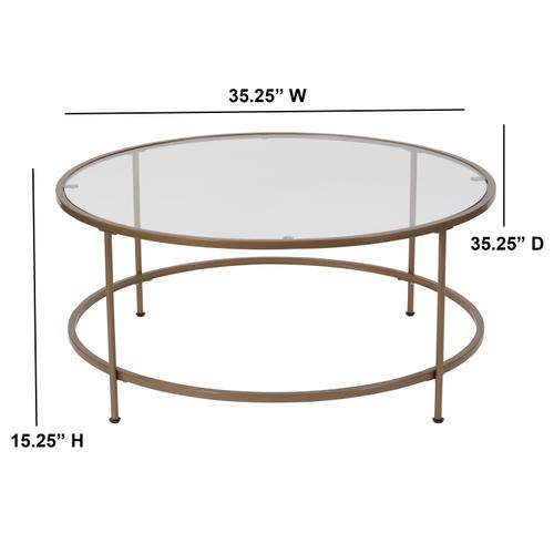 Flash Furniture - Astoria Collection Glass Coffee Table with Matte Gold Frame