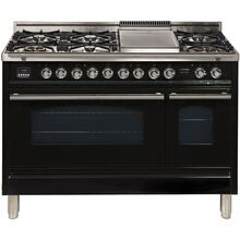 Professional Plus 48 Inch Dual Fuel Natural Gas Freestanding Range in Glossy Black with Chrome Trim