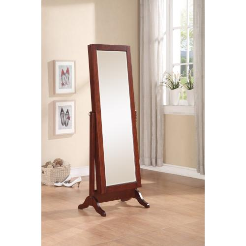 Sliding Jewelry Armoire With Full Length Adjustable Mirror, Cherry