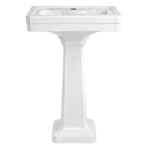 Dxv - Fitzgerald 24 Inch Pedestal Bathroom Sink- Single Faucet Hole - Canvas White