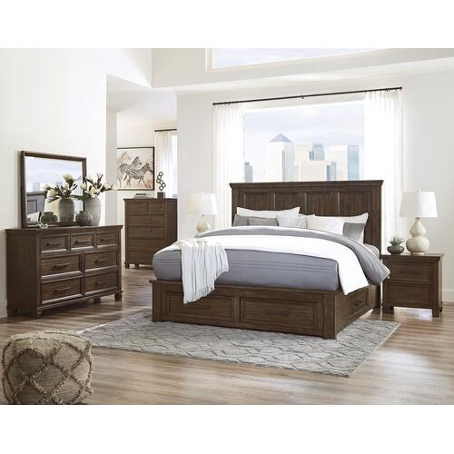 Ashley - California King Panel Bed With 4 Storage Drawers With Mirrored Dresser, Chest and Nightstand