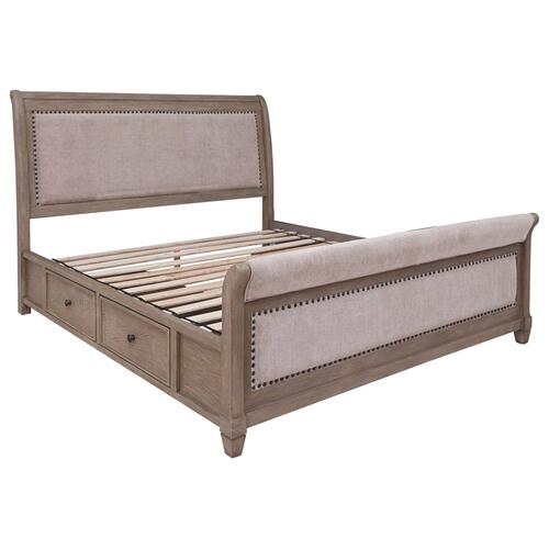 Challene California King Upholstered Bed With 4 Storage Drawers