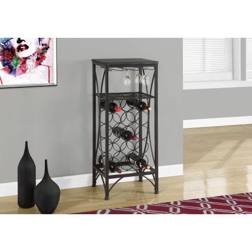 """Gallery - HOME BAR - 40""""H / BLACK METAL WINE BOTTLE AND GLASS RACK"""