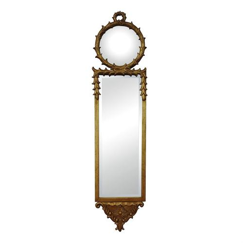 See Details - ANTIQUE REPRODUCTION WALL MIRROR WITH CONVEX TOP MIRROR