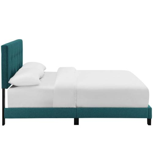 Amira Queen Upholstered Fabric Bed in Teal