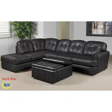 See Details - Eastern Charcoal Bonded Leather Left Facing Chaise