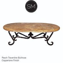 Oval rustic coffee tables - Travertine Oval Coffee table - Peach Travertine / Dark Rust Brown