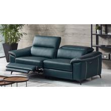Divani Casa Melstone - Modern Blue Leatherette Sofa w/ Electric Recliners