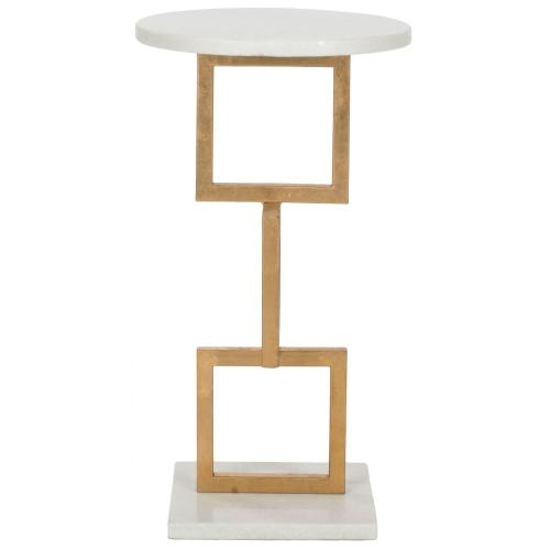 Cassidy Silver Leaf Accent Table - Gold / White