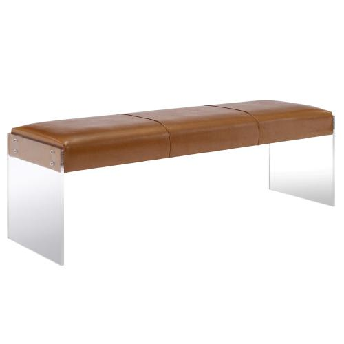 Tov Furniture - Envy Brown Leather/Acrylic Bench