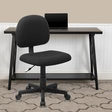 View Product - Mid-Back Black Fabric Swivel Task Office Chair