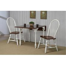 Drop Leaf Dining Set w/Spindleback Chairs - Antique White with Chestnut Top (3 Piece)