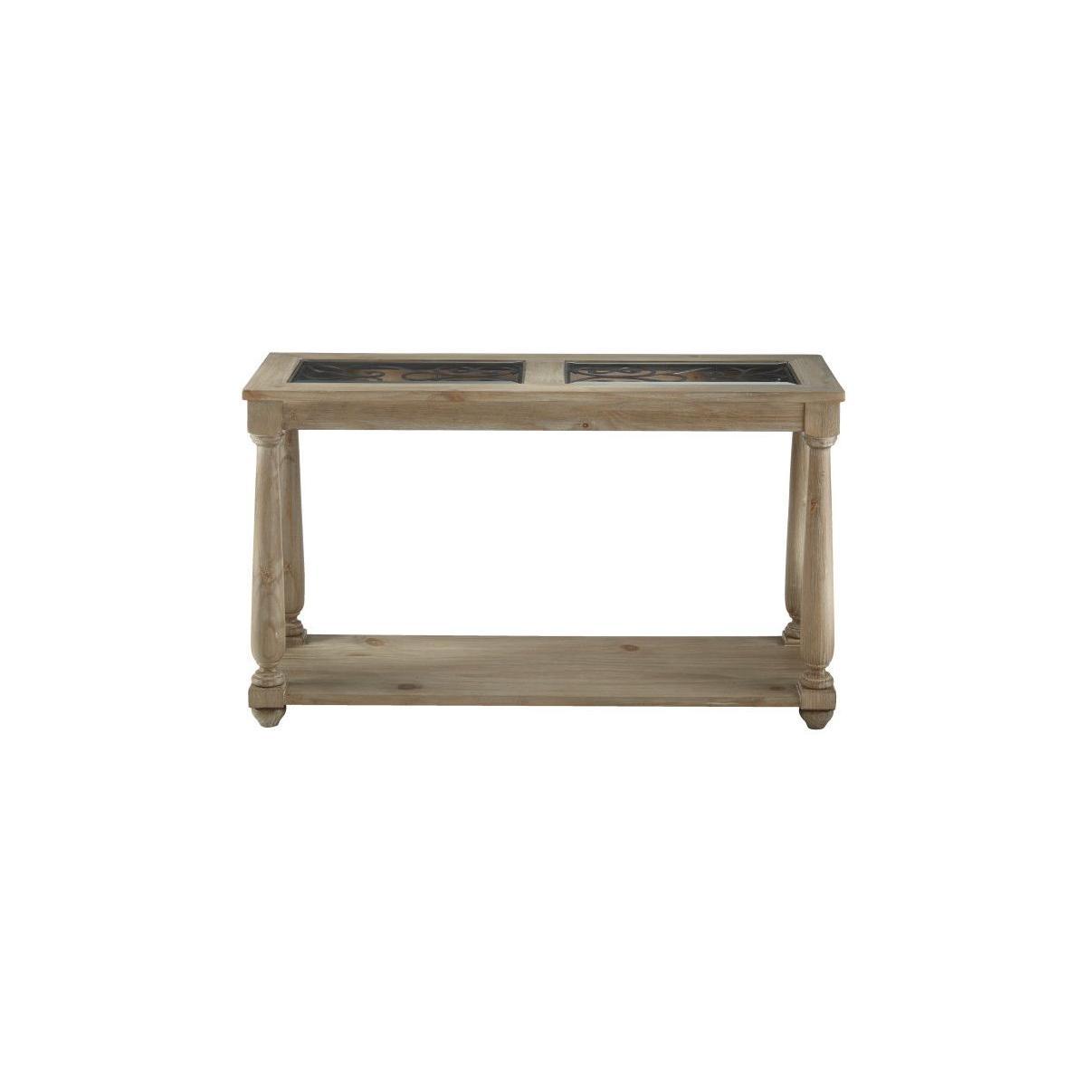 Savannah Glass Sofa Table, Brown