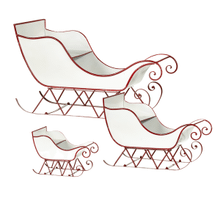 Red & White Enamel Sleigh (3 pc. set)