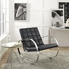 Gravitas Upholstered Vinyl Lounge Chair in Black
