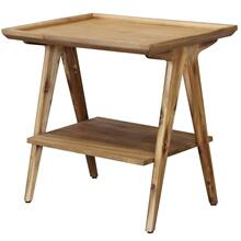 Rectangular 2 tier chairside table. Finished in a light natural color. Made of acacia veneers and s