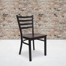 View Product - HERCULES Series Black Ladder Back Metal Restaurant Chair - Mahogany Wood Seat