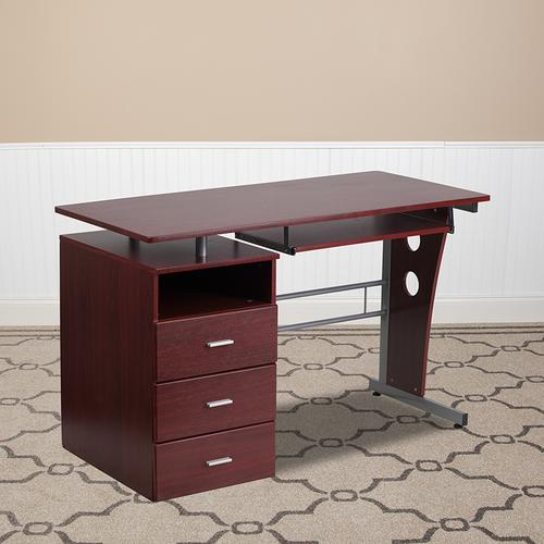 Flash Furniture - Mahogany Desk with Three Drawer Pedestal and Pull-Out Keyboard Tray