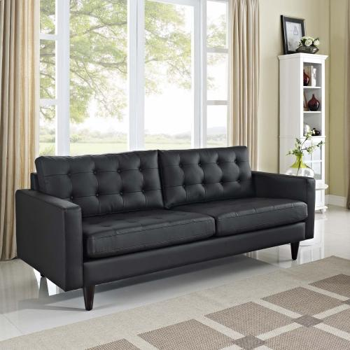 Modway - Empress Bonded Leather Sofa in Black