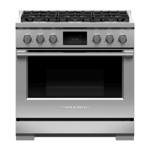 "Fisher & PaykelDual Fuel Range, 36"", 6 Burners, Self-cleaning, LPG"
