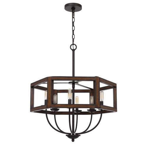 Cal Lighting & Accessories - 60W x 6 Renton hexagon rubber wood / metal chandelier