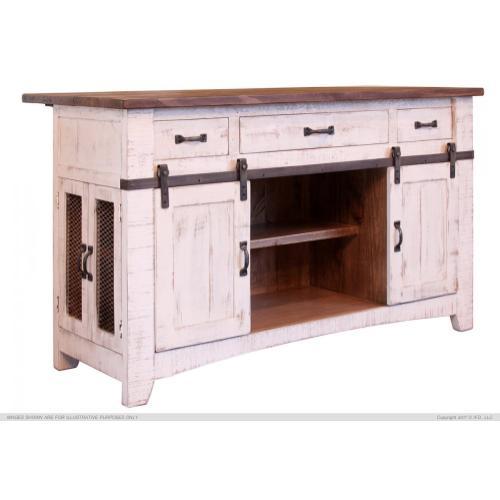 International Furniture Direct - 3 Drawer Kitchen Island w/2 sliding doors, 2 Mesh doors on each side