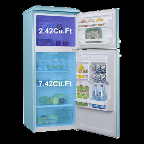 Galanz - Galanz 10 Cu Ft Retro Top Mount Refrigerator in Bebop Blue