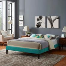 View Product - Tessie Full Fabric Bed Frame with Squared Tapered Legs in Teal
