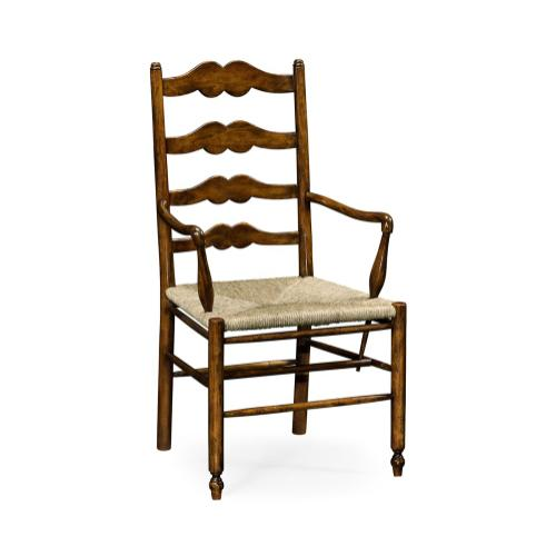 Ladder back country chair with angled arms (Arm)
