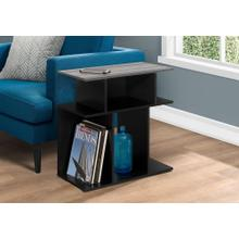 """ACCENT TABLE - 24""""H / BLACK / GREY TOP"""