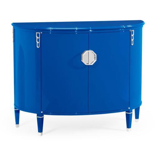 Jonathan Charles - Demilune Royal Blue Storage Cabinet