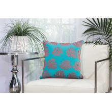 "Outdoor Pillows L1520 Turquoise/coral 18"" X 18"" Throw Pillow"