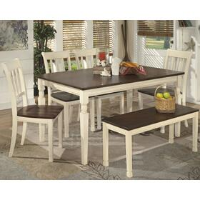 Whitesburg Dining Table and 4 Chairs and Bench