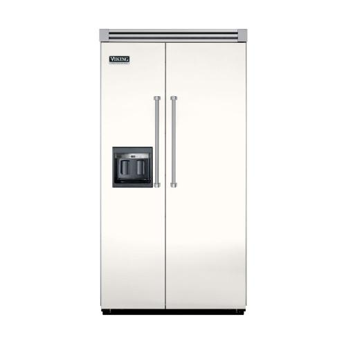 """Viking - Cotton White 42"""" Side-by-Side Refrigerator/Freezer with Dispenser - VISB (Integrated Installation)"""