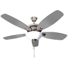 "52"" 5-Blade UFO Fan NK Silver/Walnut Blades 2-Light Bowl White Glass LED Kit"