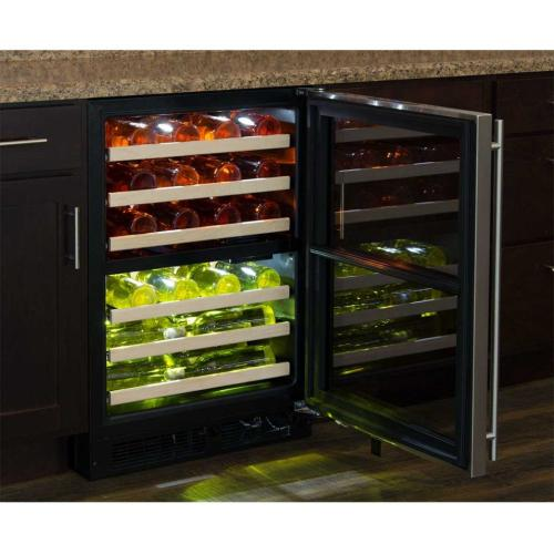 "Marvel 24"" High Efficiency Dual Zone Wine Refrigerator - Panel-Ready Solid Overlay Door - Integrated Right Hinge (handle not included)*"