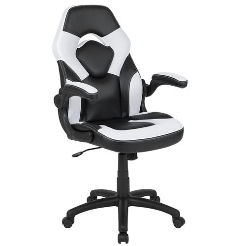 Gallery - Gaming Desk and White\/Black Racing Chair Set \/Cup Holder\/Headphone Hook\/Removable Mouse Pad Top - 2 Wire Management Holes