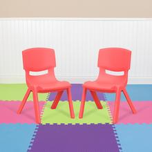 2 Pack Red Plastic Stackable School Chair with 10.5'' Seat Height