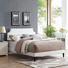 View Product - Corene Queen Vinyl Platform Bed with Squared Tapered Legs in White