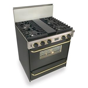 """30"""" All Gas, Convect, Sealed Burners, Black with Brass"""
