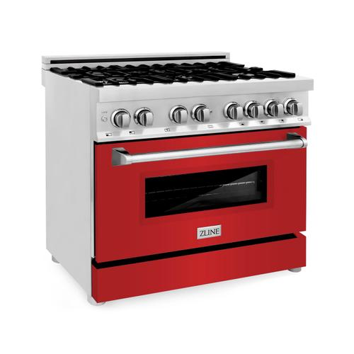 """Zline Kitchen and Bath - ZLINE 36"""" Dual Fuel Range with Gas Stove and Electric Oven in Stainless Steel with Color Door Options (RA36) [Color: Red Matte]"""