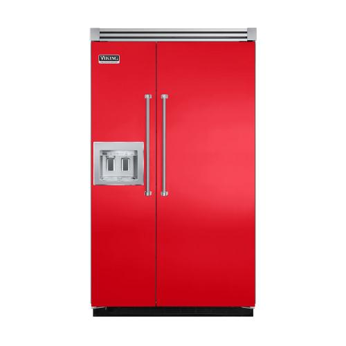 """Viking - Racing Red 48"""" Quiet Cool™ Side-by-Side with dispenser - VISB Tru-Flush™ (48"""" wide)"""