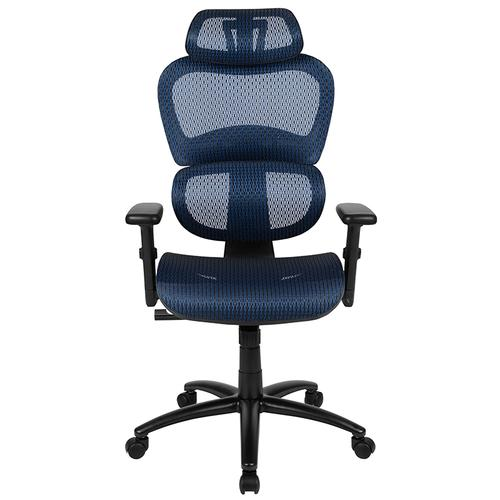 Flash Furniture - Ergonomic Mesh Office Chair with 2-to-1 Synchro-Tilt, Adjustable Headrest, Lumbar Support, and Adjustable Pivot Arms in Blue