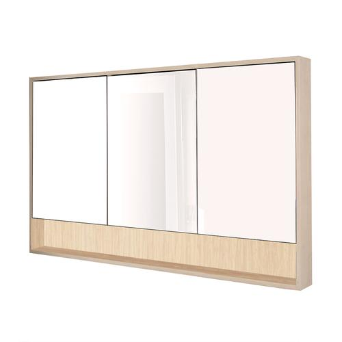 Surface-mount medicine cabinet with three mirrored doors, three adjustable glass shelves in each section and LED lights in cubby.