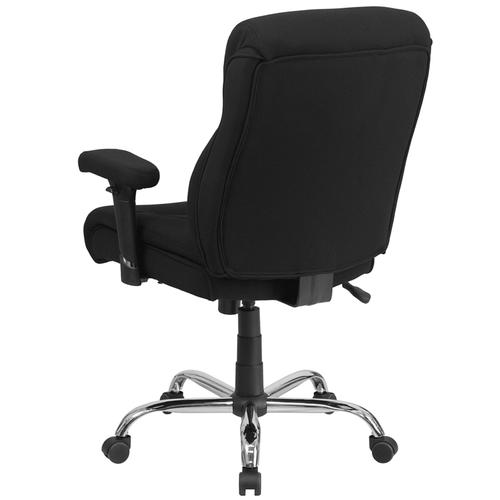 Gallery - HERCULES Series Big & Tall 400 lb. Rated Black Fabric Ergonomic Task Office Chair with Line Stitching and Adjustable Arms