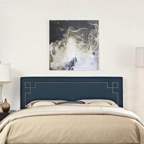 Josie King Upholstered Fabric Headboard in Azure