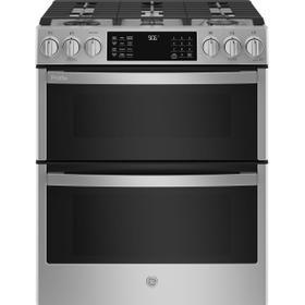 "GE Profile™ 30"" Smart Slide-In Front-Control Gas Double Oven Convection Fingerprint Resistant Range"